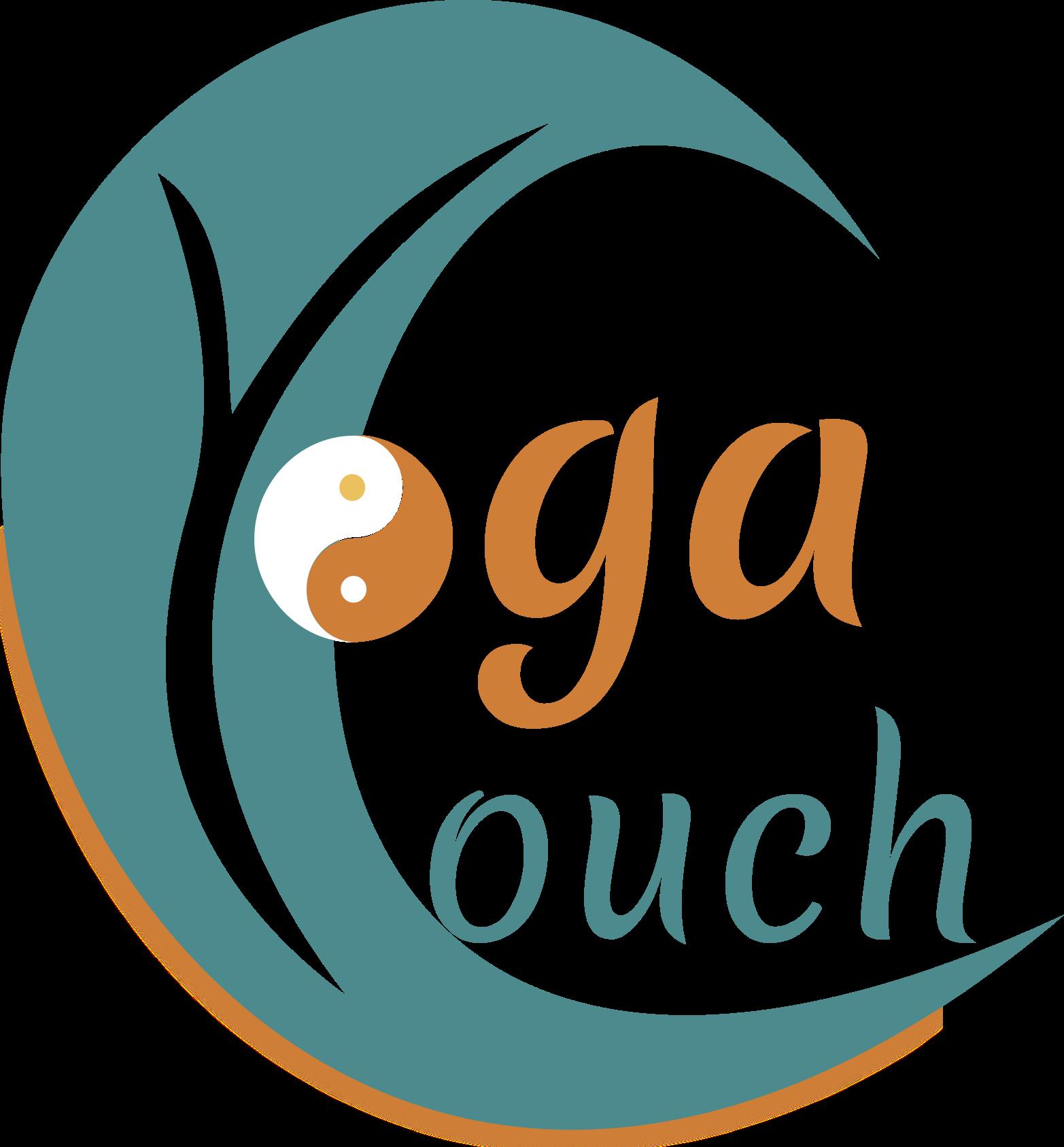 Das Logo von Yogacouch zeigt eine Welle, die gleichzeitig das C von Couch ist. Im inneren der Welle ist ein Y für Yoga. Das O von Yoga ist das Yin Yang Zeichen