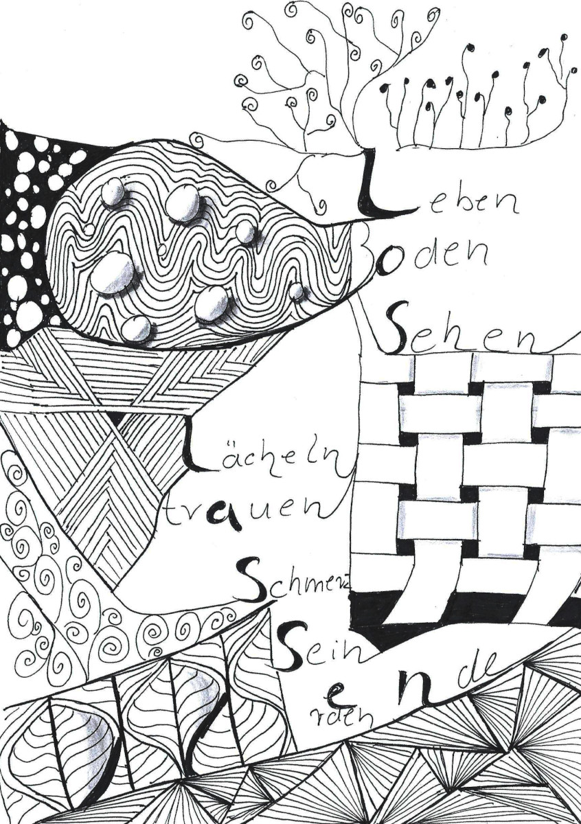 Eine von Zentangle inspirierte Zeichnung mit dem Wort Loslassen und den zugehörigen Assoziationen Leben, Boden, Sehen, Lächeln, trauen, Schmerz, Sein, erden und Ende. Diese ergeben sich aus Buchstaben des Wortes Loslassen. Vera Brikenbihl nannte die Methode KAWA.