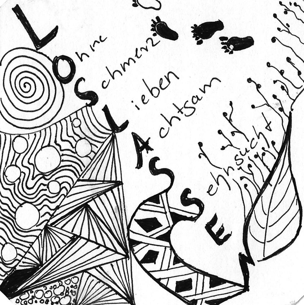 Eine von Zentangle inspirierte Zeichnung mit dem Wort Loslassen und den zugehörigen Assoziationen Ohne, Schmrz, Lieben, Achtsam, Sehnsucht. diese ergeben sich aus Buchstaben des Wortes Loslassen. Vera Brikenbihl nannte die Methode KAWA.