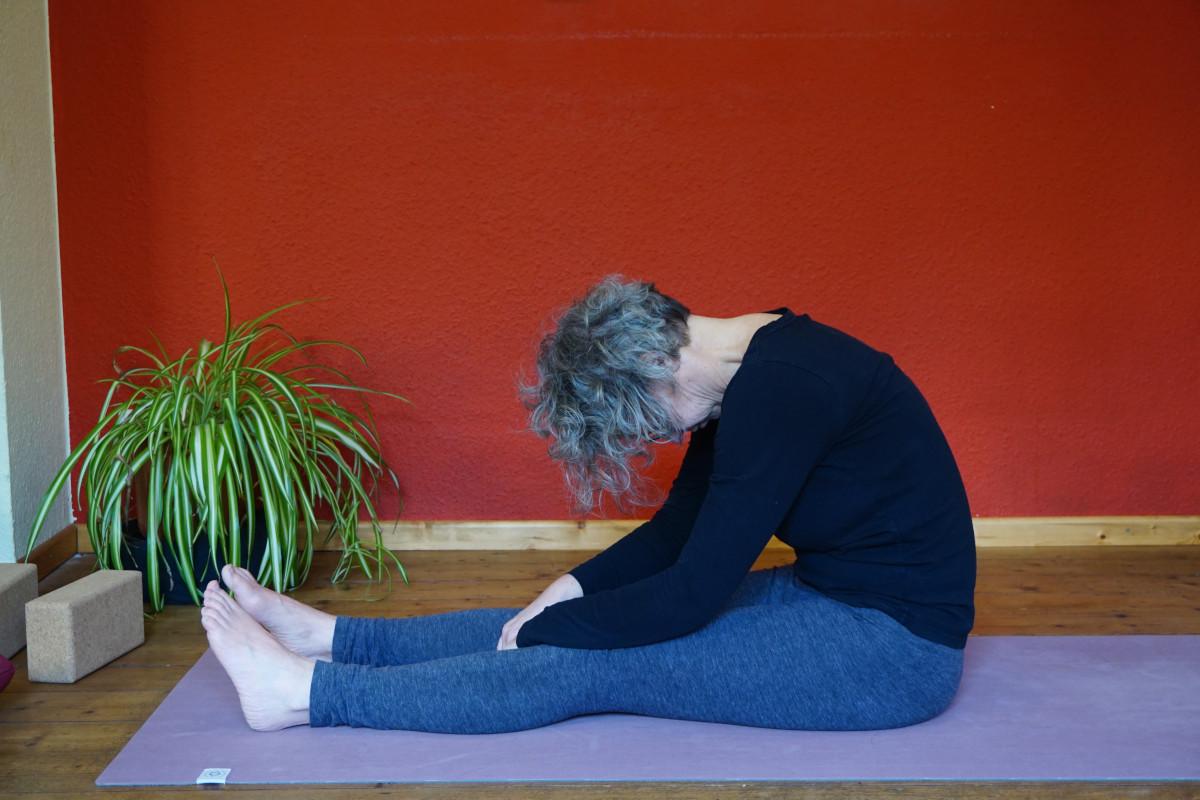 Susanne in der Yin Yoga Postion Raupe. Dabei sind die Beine auf dem Boden sitzend nach vorne gestreckt, der Oberkörper wird mit rundem Rücken nach vorne gebeugt.