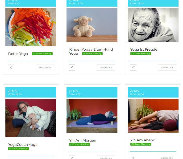 Das Foto ist ein Screenshot meiner Webseite und zeigt Yoga Kurstermine. Unter anderem einen Kurs zum Detox Yoga
