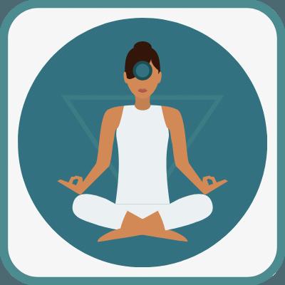 Das Foto zeigt eine gezeichnete Frau im Yogasitz in Dunkelblau ist das Ajna Chakra markiert.