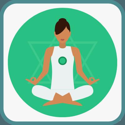 Das Foto zeigt eine gezeichnete Frau im Yogasitz in Grün ist das Anahata Chakra markiert.