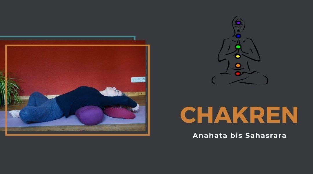 """Das Bild zeigt Susanne in der Asana """"liegender Schmetterling"""" Daneben steht in Orange """"Cahkren"""" Weiterhin ist schematisch ein Mensch dargestellt mit farbig markierten Chakren"""