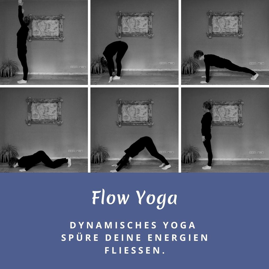 Susanne in sechs verschiedenen Positionen des Sonnengrußes. Das Bild trägt die Aufschrift: Flow Yoga spüre deine Energien fließen