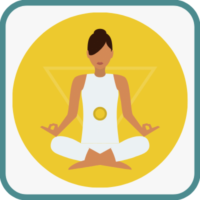 Das Foto zeigt eine gezeichnete Frau im Yogasitz in Gelb ist das Manipura Chakra markiert.