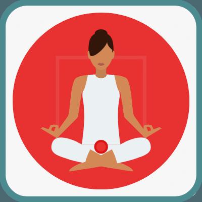 Das Foto zeigt eine gezeichnete Frau im Yogasitz in Rot ist das Muladhara Chakra markiert.