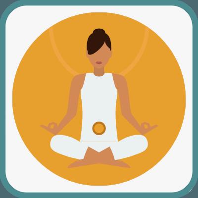 Das Foto zeigt eine gezeichnete Frau im Yogasitz in Orange ist das Swadhistana Chakra markiert.