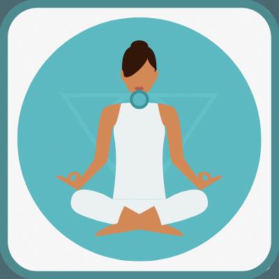 Das Foto zeigt eine gezeichnete Frau im Yogasitz in Hellblau ist das Vishudda Chakra markiert.