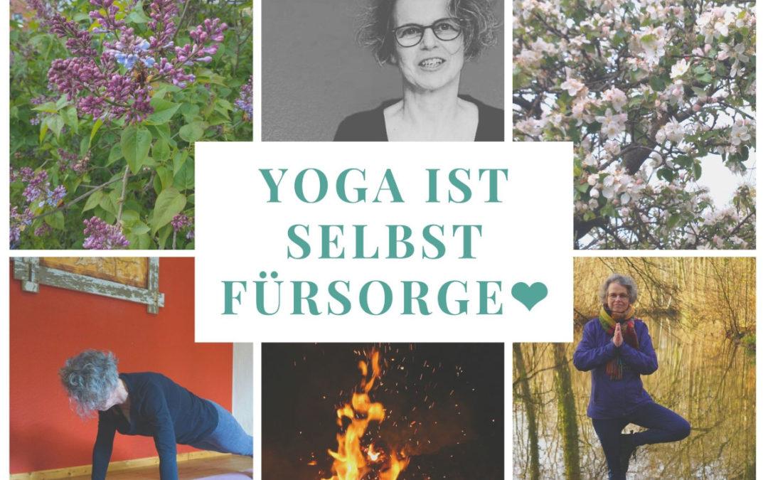 Yoga ist Selbstfürsorge. Eine Collage aus 6 Bildern. Susanne im Liegestütz und in der Baumstellung. Ein Feuerfoto, 2 Blumenbilder und ein Portrait von Susanne.