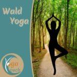 """Das Foto zeigt auf der rechten Seite einen Waldweg mit einer stilisierten Figur in der Yogastellung """"Baum"""". Auf der Linken Seite ist das Logo von YogaCouch und der Titel Waldyoga."""