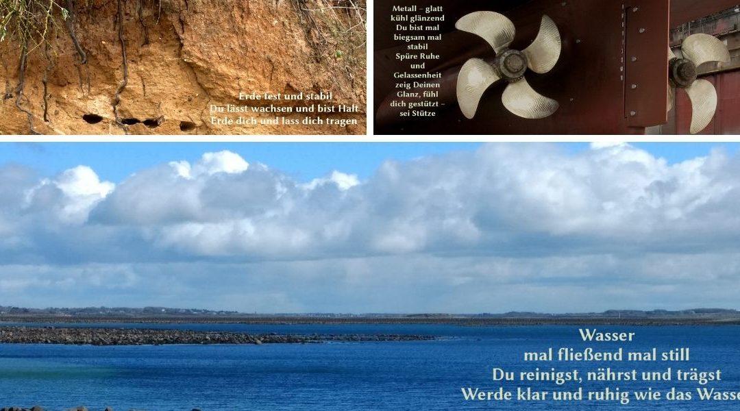 Das Foto zeigt eine Collage aus den Fotos der Webseite zu den Elementen Erde, Metall und Wasser.